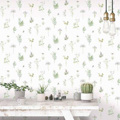 Evergreen Tapet Herbs And Flowers vit