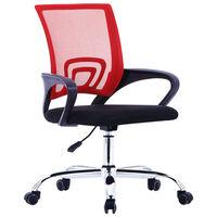 vidaXL Kontorsstol med ryggstöd i nät röd tyg