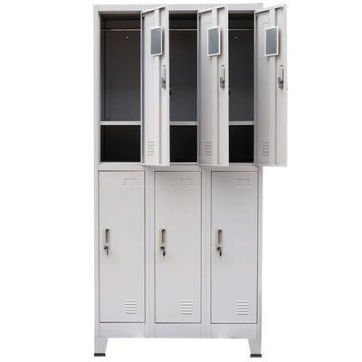 vidaXL Klädskåp för omklädningsrum med 6 fack stål 90x45x180 cm grå