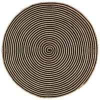 vidaXL Handgjord jutematta med spiraldesign svart 120 cm