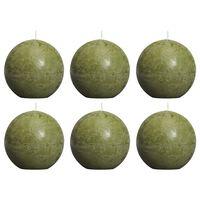 Bolsius Rustika klotljus 6 st 80 mm olivgrön