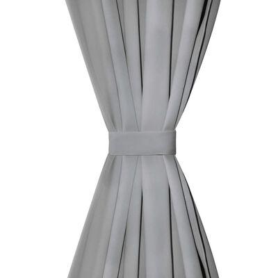 vidaXL Gardiner i microsatin 2 st med öglor 140x245 cm grå