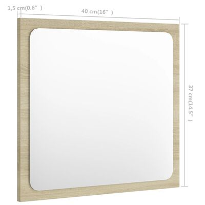 vidaXL Badrumsspegel sonoma-ek 40x1,5x37 cm spånskiva