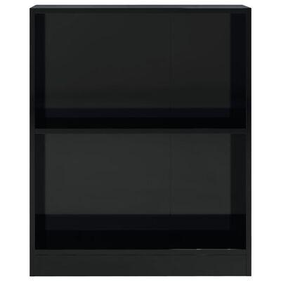 vidaXL Bokhylla svart högglans 60x24x74,5 cm spånskiva