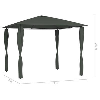 vidaXL Paviljong med stolpar 3x3x2,6 m antracit 160 g/m²