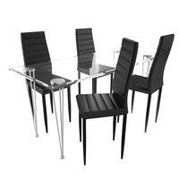 Matbord i glas med 4 st svarta slimmade stolar
