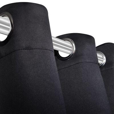 vidaXL Mörkläggningsgardin med öljetter 270x245 cm svart