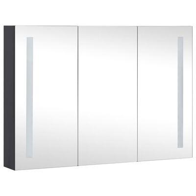vidaXL Badrumsskåp med spegel LED 89x14x62 cm