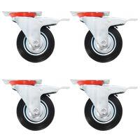 vidaXL Länkhjul med dubbla bromsar 4 st 100 mm