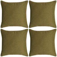 vidaXL Kuddöverdrag 4 st linne-design 50x50 cm grön