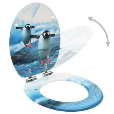 vidaXL Toalettsitsar med mjuk stängning 2 st MDF pingvin