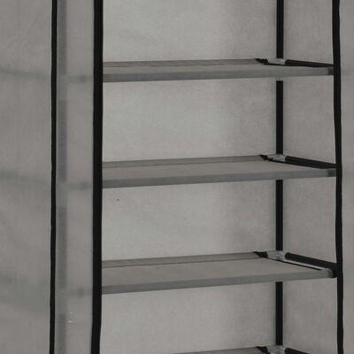 vidaXL Skoförvaring med överdrag grå 57x29x162 cm tyg