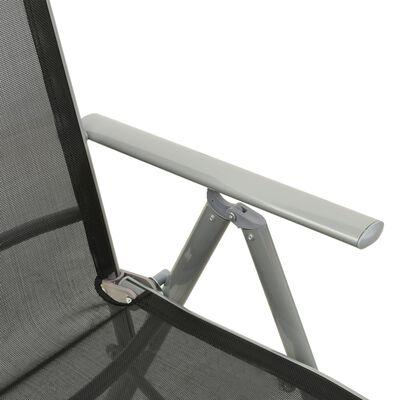 vidaXL Trädgårdsstolar justerbara 2 st textilen och aluminium silver