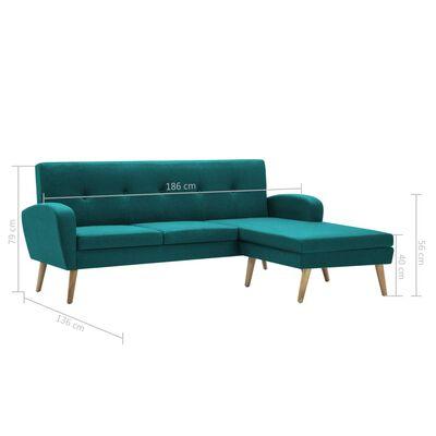 vidaXL Soffa L-formad tygklädsel 186x136x79 cm grön