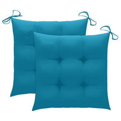 vidaXL Caféset 3 delar med ljusblå dynor massiv teak