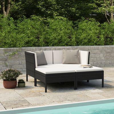 vidaXL Loungegrupp för trädgården med dynor 4 delar konstrotting svart, Svart