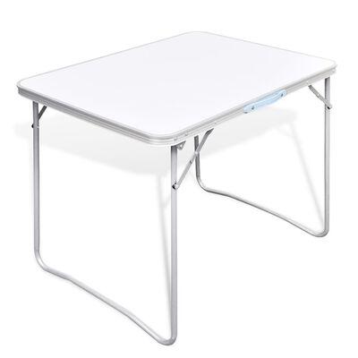 Campingbord med metallram, hopfällbar 80 x 60 cm