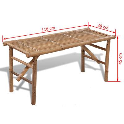 vidaXL Hopfällbar trädgårdsbänk 118 cm bambu