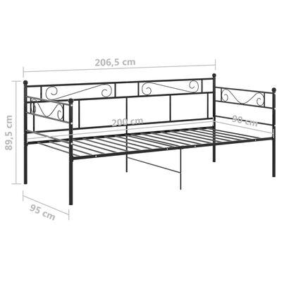 vidaXL Sängram bäddsoffa svart metall 90x200 cm