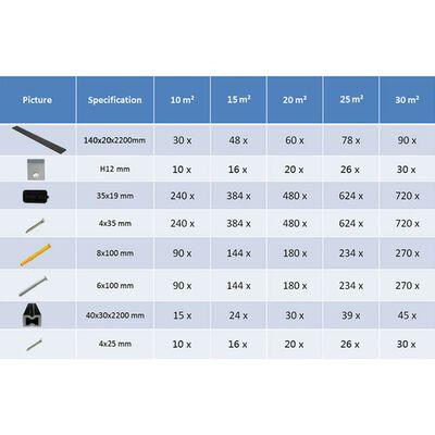 vidaXL WPC massiva golvplattor med tillbehör 26 m² 2,2 m svart