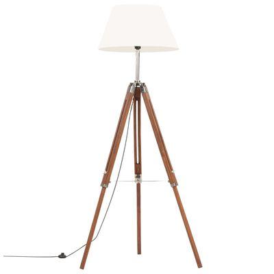 vidaXL Golvlampa honungsbrun och vit massivt teakträ 141 cm