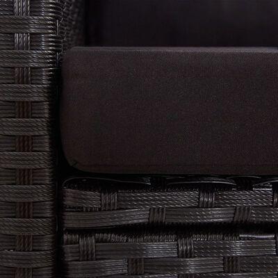 vidaXL Trädgårdssoffa 2-sits med dynor svart 124 cm konstrotting