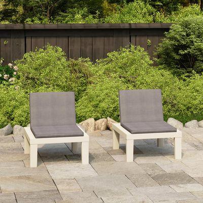 vidaXL Loungefåtöljer för trädgården med dynor 2 st plast vit