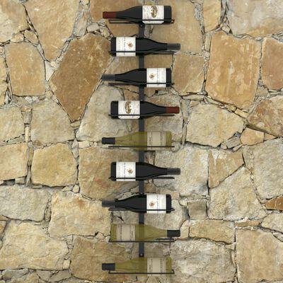 vidaXL Väggmonterat vinställ för 9 flaskor svart järn