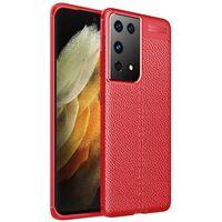 Läder Mönstrat Tpu Skal Samsung Galaxy S21 Ultra-röd