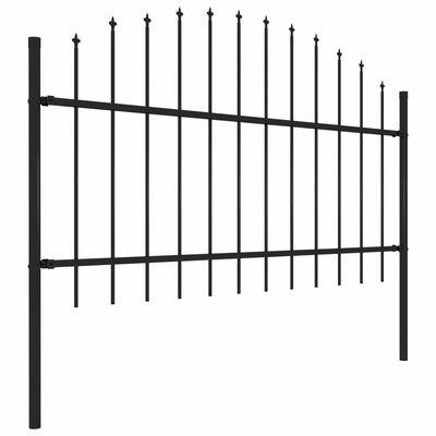vidaXL Trädgårdsstaket med spjuttopp stål (1-1,25)x5,1 m svart