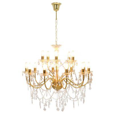 vidaXL Takkrona 2 nivåer guld 15 x E14-glödlampor