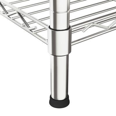 vidaXL Hylla för mikrovågsugn 4 våningar 90x35x150 cm förkromat järn