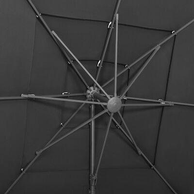 vidaXL Trädgårdsparasoll med ventilation och stång antracit 250x250 cm