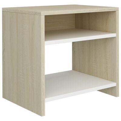 vidaXL Sängbord vit och sonoma-ek 40x30x40 cm spånskiva