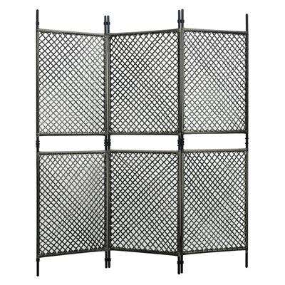 vidaXL Rumsavdelare 3 paneler konstrotting antracit 180x200 cm