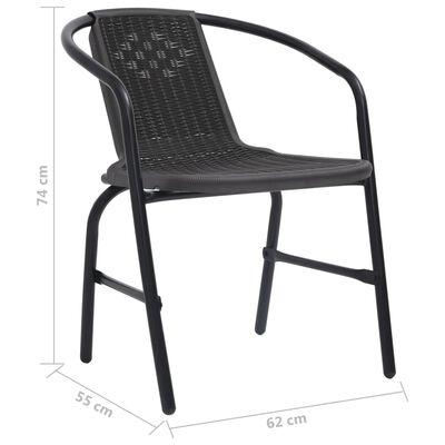 vidaXL Trädgårdsstolar 2 st svart plast rottingutseende stål 110 kg