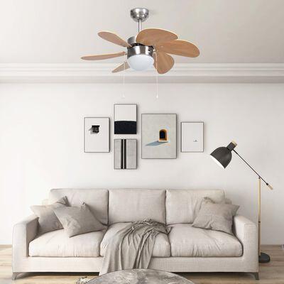 vidaXL Takfläkt med lampa 76 cm ljusbrun