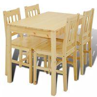 Matbord trä med 4 stolar naturligt