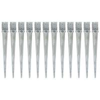 vidaXL Jordspett 12 st silver 10x10x91 cm galvaniserat stål