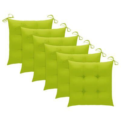 vidaXL Trädgårdsstolar med ljusgröna dynor 6 st massiv teak