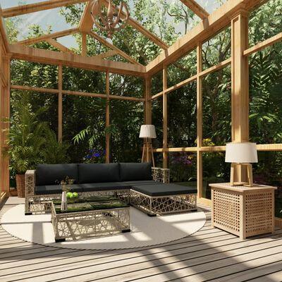 vidaXL Loungegrupp för trädgården med dynor 5 delar konstrotting grå
