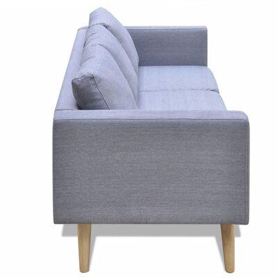 vidaXL Soffa 3-sits i tyg ljusgrå
