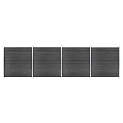 vidaXL Staketpanel WPC 699x186 cm svart