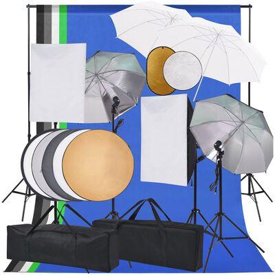 vidaXL Fotostudio med softboxar, paraply, bakgrund och reflexskärm