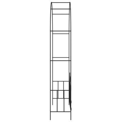 vidaXL Rosenbåge med grind svart 138x40x238 cm järn