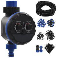 vidaXL Automatiskt droppbevattningssystem 142 delar med timer