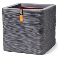 Capi Kruka Nature Rib fyrkantig 40x40x40 cm mörkgrå