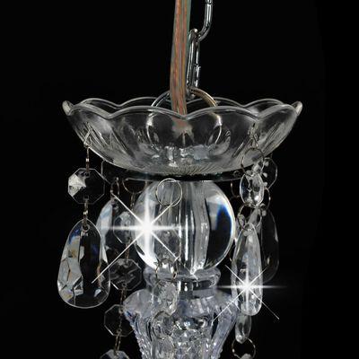vidaXL Takkrona med pärlor silver rund 3 x E14