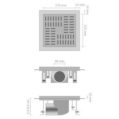 vidaXL Golvbrunn 20x20 cm rostfritt stål