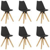 vidaXL Matstolar 6 st svart PP och massivt bokträ